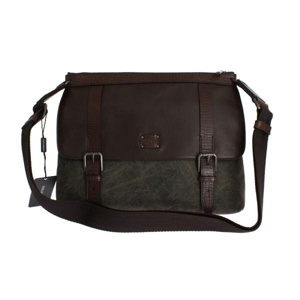 8f7df7a8e4 Shop Dolce   Gabbana Brown Leather Canvas Shoulder Messenger Bag ...