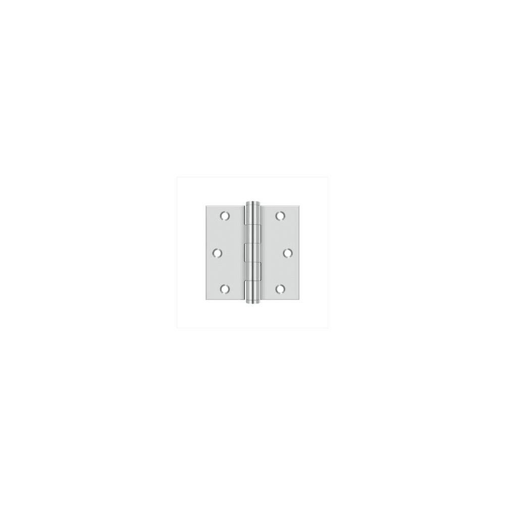 Deltana SS33U  3 x 3 Stainless Steel Square Corner Plain Bearing Mortise Hinge - Pair (Satin Stainless Steel)