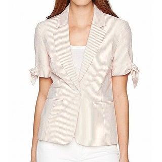 Nine West Orange Womens Size 10 Striped Tie-Cuff Seersucker Blazer