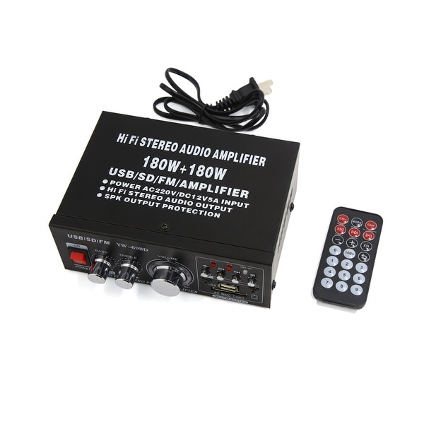 Black 2-CH Power Hi-Fi Stereo Amplifier for Car Auto MP3 FM Audio