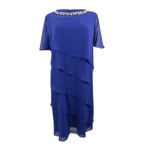 SL Fashions Women's Plus Size Tiered Shift Dress - Royal