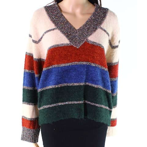 Raga Blue Pink Womens Size XS V-Neck Pullover Striped Sweater