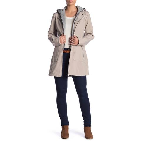 French Connection Beige Womens Size XS Hooded Soft-Shell Jacket