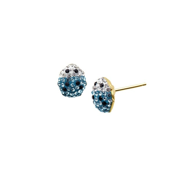 Crystaluxe Girl's Ladybug Earrings with Sky Blue Swarovski Elements Crystals in 14K Gold-Plated Sterling Silv