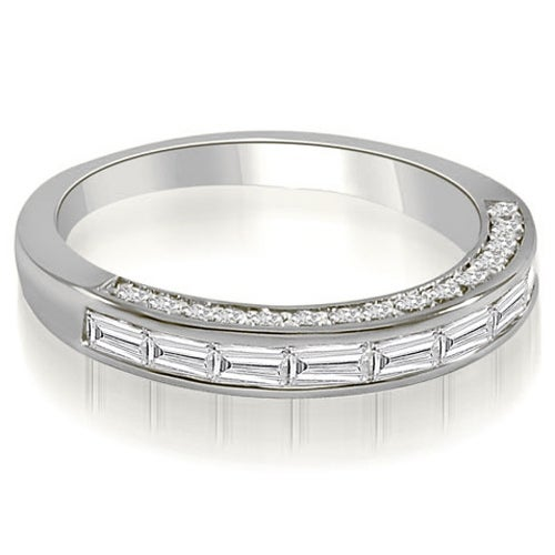 0.78 cttw. 14K White Gold Channel Baguette and Round Cut Diamond Wedding Band