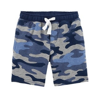 Carter's Little Boys' Easy Pull-On Knit Shorts , Blue Camo, 3-Toddler