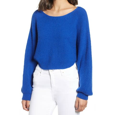 Leith Blue Mazarine Womens Size XXS Bateau Neck Cropped Sweater