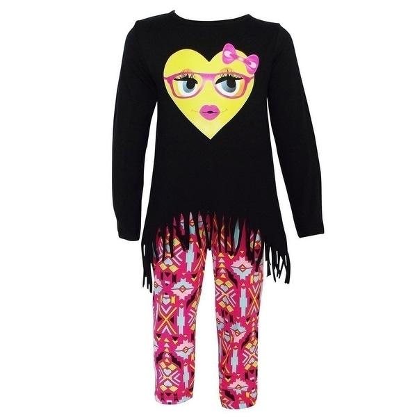 736fb245154 AnnLoren Baby Girls Black Heart Emoji Hi-Low Tunic Aztec Legging Set