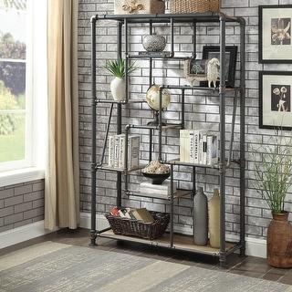 Link to Furniture of America Vofi Industrial Black Metal Tiered Bookshelf Similar Items in Bookshelves & Bookcases