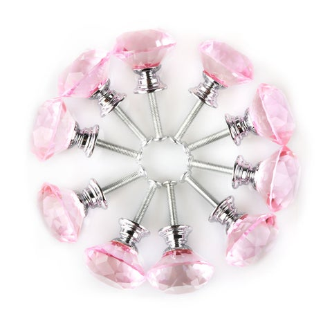 """1.18"""" Dia Crystal Glass Diamond Shape Drawer Knobs Cabinet Pull Handle Pink 10pcs"""