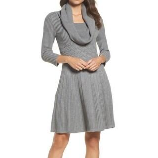 Eliza J Gray Women's Size XL Cowl-Neck Knitted Sweater Dress