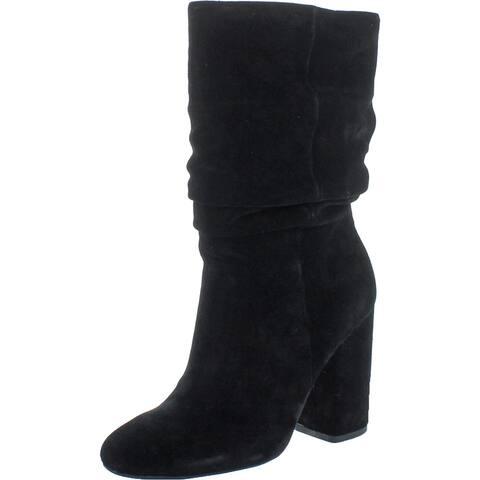 Splendid Women's Phyllis Suede Slouchy Block Heel Mid-Calf Boot - Black Suede - 5.5 Medium (B,M)