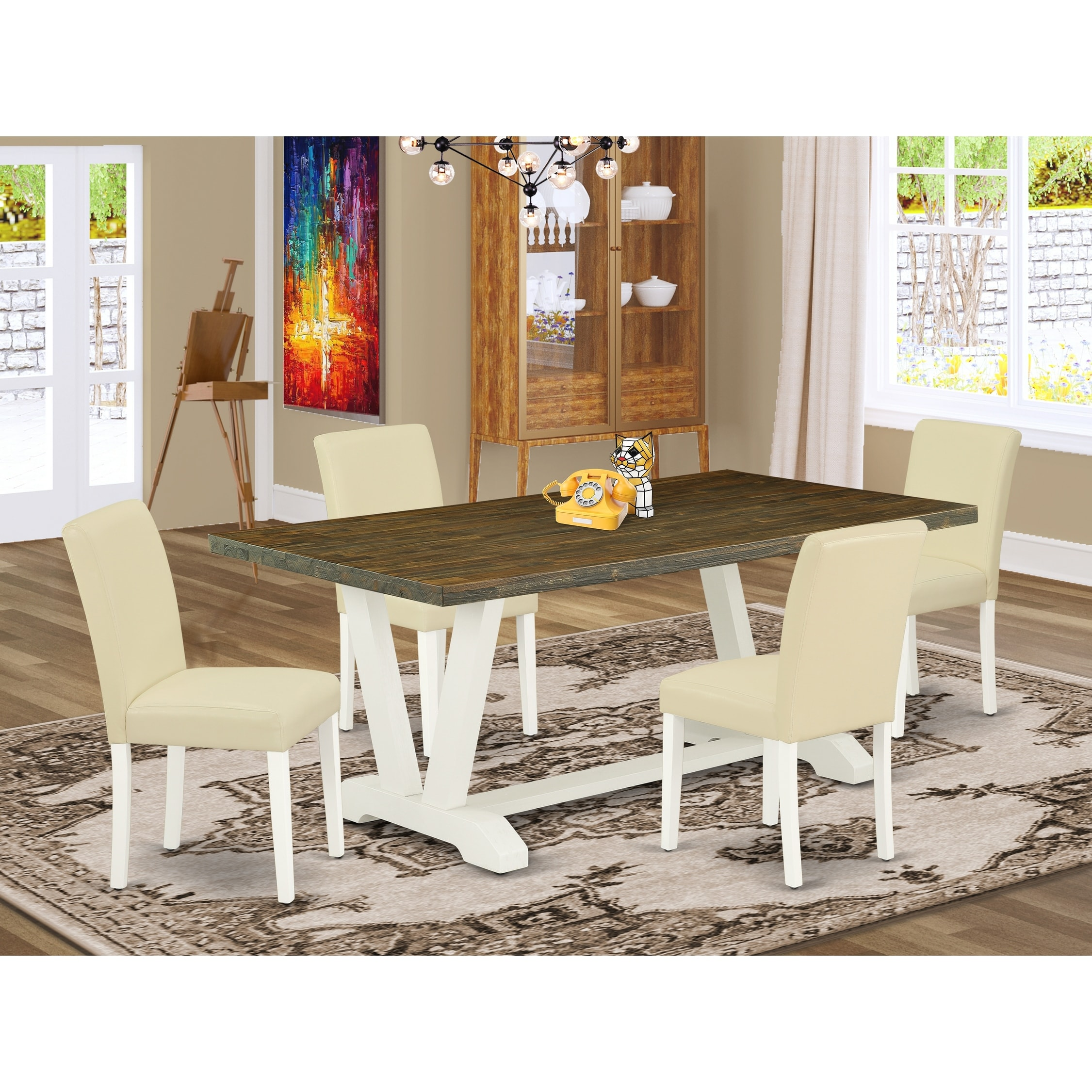 V077ab264 5 5 Piece Modern Dining Set A Distressed Jacobean Dining Table And 4 Pu Leather Parson Dining Chairs Overstock 32845657