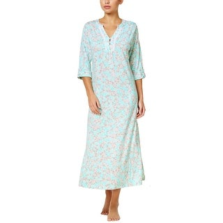 Miss Elaine Womens Turquoise and Grey Floral Print Long Knit Nightgown