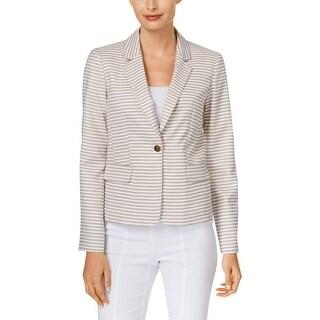 Calvin Klein Womens Petites One-Button Blazer Striped Shoulder Pad