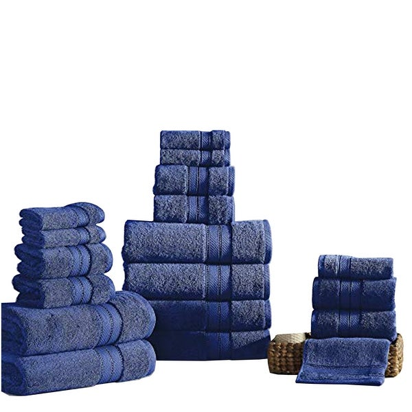 Bergamo 18 Piece Spun loft Towel Set with Striped Pattern The Urban Port, Dark Blue. Opens flyout.