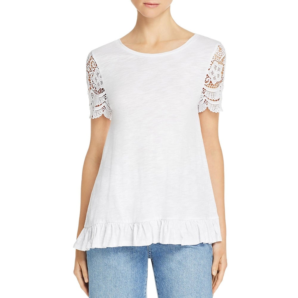 Cupio Blush Womens T-Shirt Lace Trim Ruffled - White