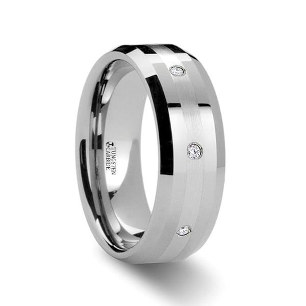 THORSTEN - NEWPORT Beveled Tungsten Diamond Carbide Ring with Platinum Inlay