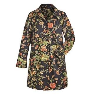 April Cornell Women's Floral Print on Black Jacket - Light Weight Cotton Coat