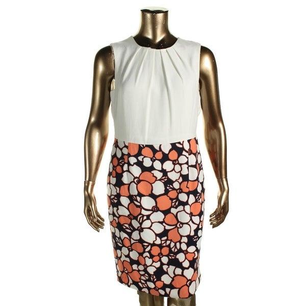Nine West Womens Wear to Work Dress Half Printed Pleated top