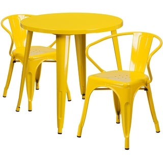 Brimmes 3pcs Round 30'' Yellow Metal Table w/2 Arm Chairs