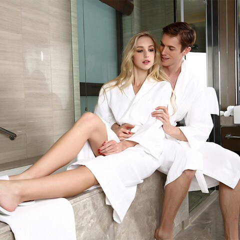 Lady Cotton Waffle Kimono Bathrobe Belted Spa Robe Knee-length Sleepwear