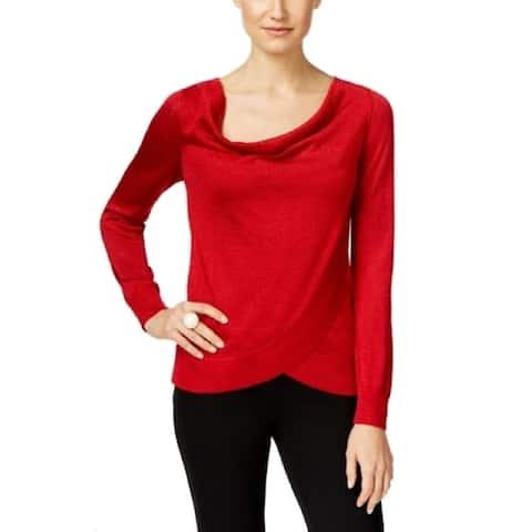 INC Women's Cowl-neck Knit Draped Metallic Knit Top, Real Red, L