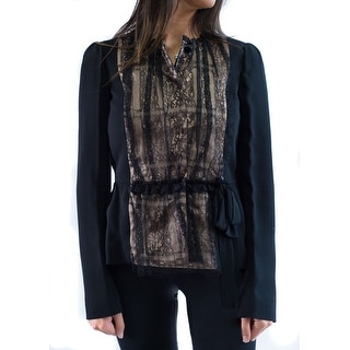 Valentino Women's Black Laced Fitted Jacket - 4