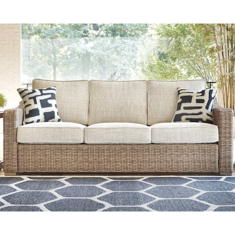 Sandestria Beige Outdoor Sofa with Cushion by Havenside Home