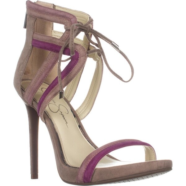Jessica Simpson Rensa Lace Up Ankle Strap Sandals, Warm Taupe Combo