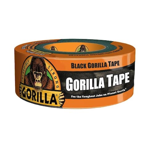 "Gorilla 60124 Incredibly Strong Duct Tape, Black, 1.88"" x 12 Yd"