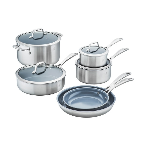 ZWILLING Spirit 3-ply 10-pc Stainless Steel Ceramic Nonstick Cookware Set - STAINLESS STEEL