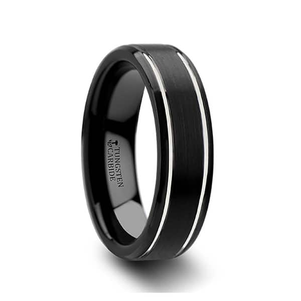 Tungsten Carbide Brushed Center High Polished Beveled Edge  Band Ring 6mm