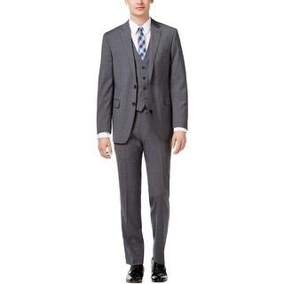Calvin Klein X Slim Fit 3pc Vested Suit 48 Regular 48R Grey Plaid Wool Pants 42W