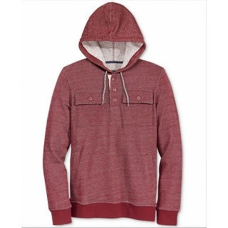 American Rag NEW Red Mens Size Small S Dual Pocket Henley Hoodie Shirt