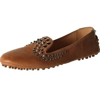 Car Shoe Womens Leather Studded Smoking Loafers - 37.5