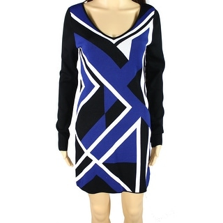 INC NEW Blue Black Women's Size Medium M V-Neck Colorblock Tunic Dress