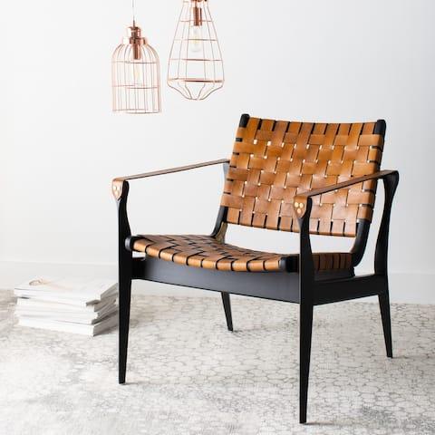 "SAFAVIEH Couture Dilan Leather Safari Chair - 24.5""x30""x30"""