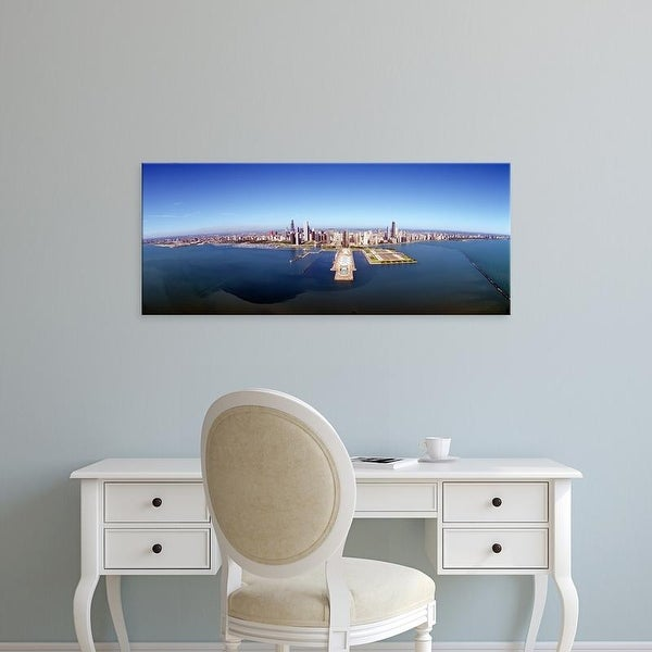 Easy Art Prints Panoramic Images's 'Chicago Harbor, Aerial Perspective, Illinois' Premium Canvas Art