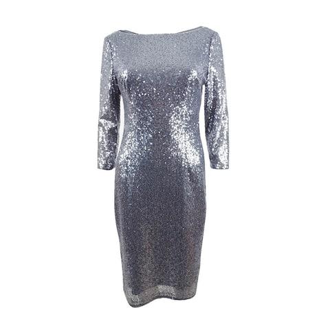 Adrianna Papell Women's Petite Sequin Sheath Dress - Gunmetal
