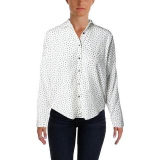 Scotch & Soda Womens Button-Down Top Sheer Printed