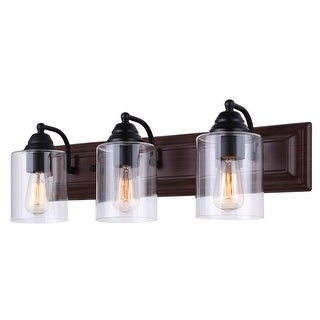 Canarm Balsa 3 Light Vanity Light with Clear Glass and Matte Black /Faux Wood Finish