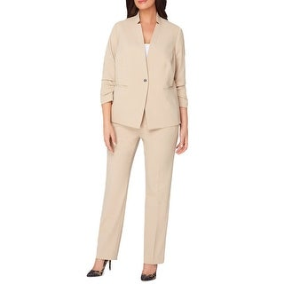 Tahari ASL Plus Size Ruched 3/4 Sleeve Jacket Pant Suit Beige - 20W