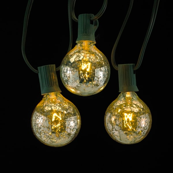 Set of 10 Silver Mercury Glass G50 Globe C7 Christmas Lights - Green Wire