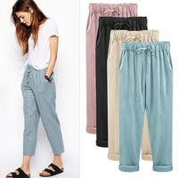 Women's Cotton Elastic Waist Trousers plus Free Necklace
