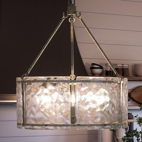 """Luxury Industrial Chandelier, 23.5""""H x 20.5""""W, with Rustic Style, Silver Etch Finish by Urban Ambiance - 20"""