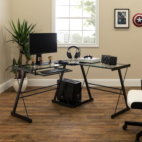 Porch & Den Hardy L-Shape Glass Corner Computer Desk