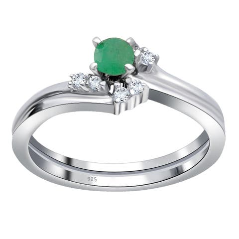 Emerald, Topaz Sterling Silver Round Promise Ring By Orchid Jewelry