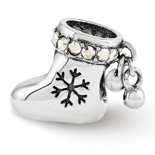 Sterling Silver Reflections Swarovski Elements Christmas Stocking Bead (4mm Diameter Hole)