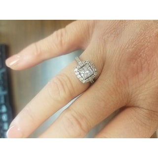 10K White Gold Cubic Zirconia Halo Bridal Ring Set Free Shipping